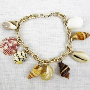 Vintage Charm Bracelet Seashells Stamped Germany